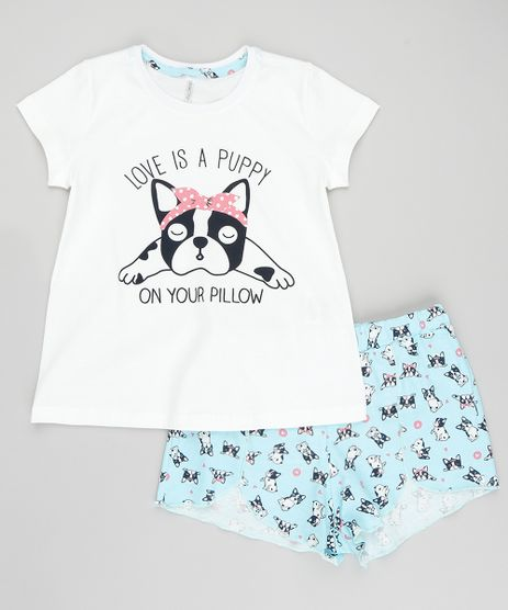 Pijama-Infantil--Love-is-A-Puppy--Manga-Curta-com-Estampa-de-Bulldog-Off-White-9405734-Off_White_1