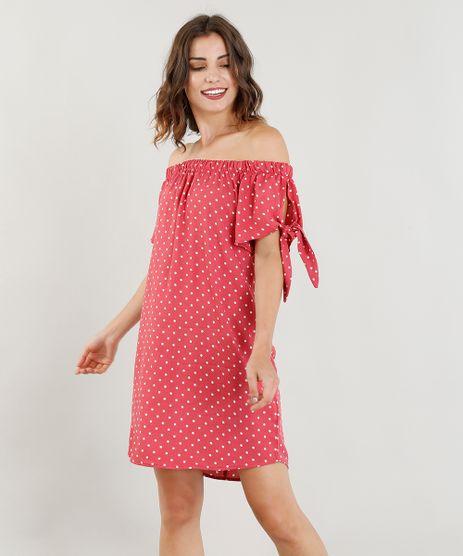Vestido-Feminino-Ombro-a-Ombro-Estampado-de-Poa-Manga-Curta-Vermelho-9311024-Vermelho_1
