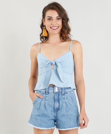 Regata-Jeans-Feminina-Cropped-com-No-e-Babado-Decote-V-Azul-Claro-9365636-Azul_Claro_1