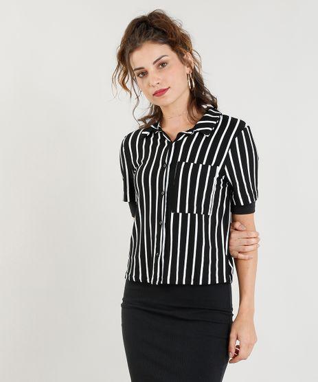Camisa-Feminina-Cropped-Listrada-com-Bolso-Manga-Curta-Preta-9282638-Preto_1
