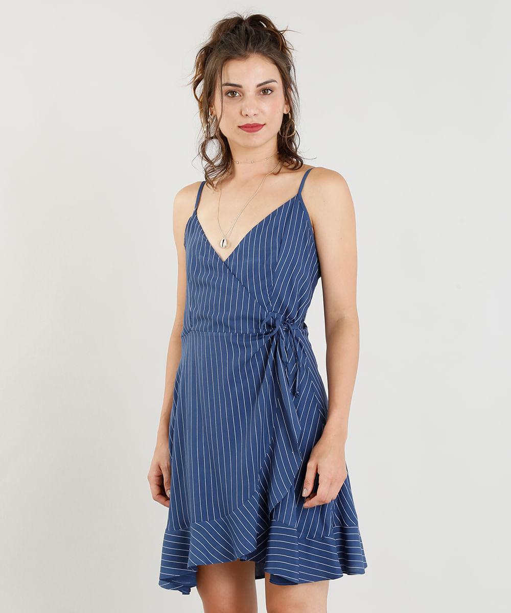 8d3f7253a0 Vestido Feminino Curto Envelope Listrado Decote V Azul Marinho - cea