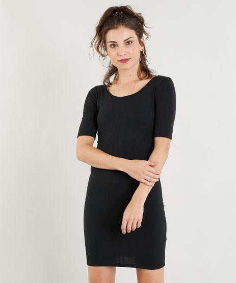 Vestido-Feminino-Curto-Canelado-Manga-Curta-Decote-Redondo-Preto-9391656-Preto_1