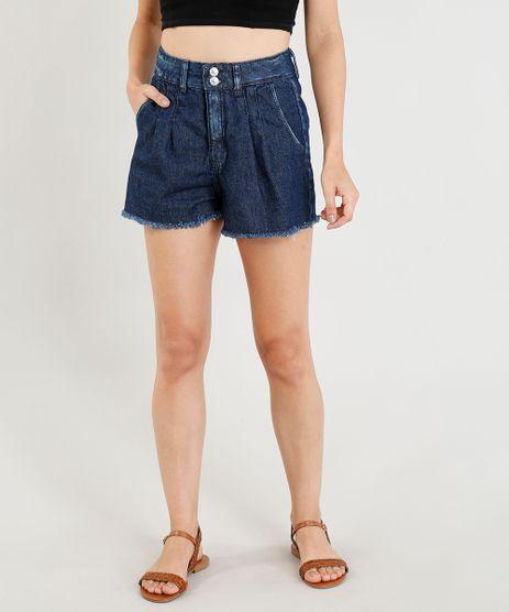 Short-Jeans-Mom-Feminino-Cintura-Alta-com-Pregas-Azul-Escuro-9365667-Azul_Escuro_1