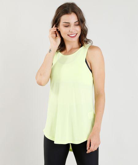 455005506c Menor preço em Regata Feminina Esportiva Ace com Recorte Verde Neon