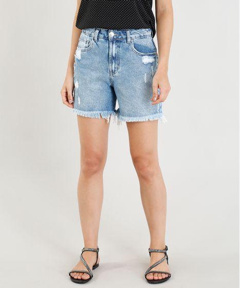71798f670 Bermuda-Jeans-Feminina-Girlfriend-Destroyed-Azul-Claro-9346369- ...