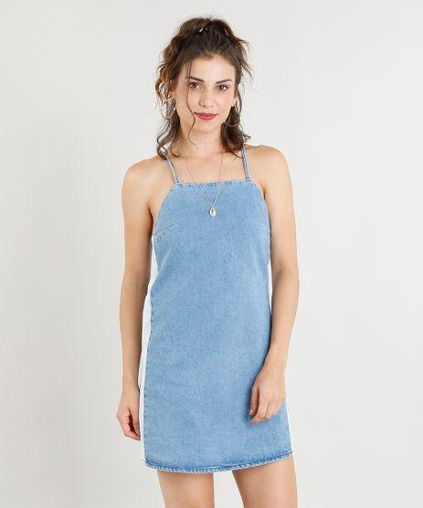 Vestido-Jeans-Feminino-Curto-com-Faixa-Lateral-Azul-Claro-9365633-Azul_Claro_1