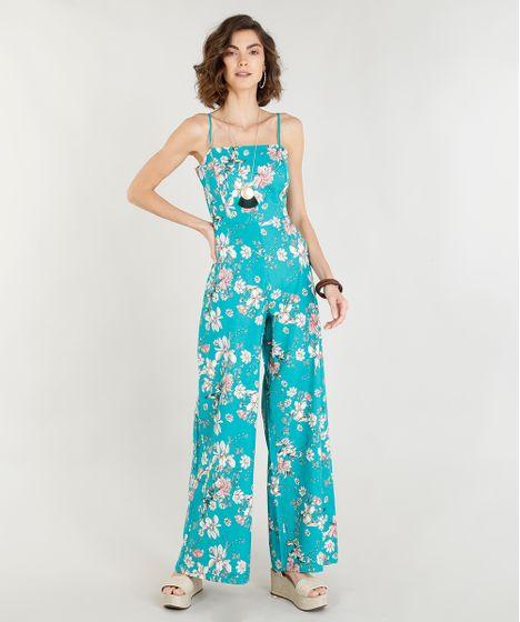 834419937 Macacão Feminino Estampado Floral com Linho e Amarração Verde ...