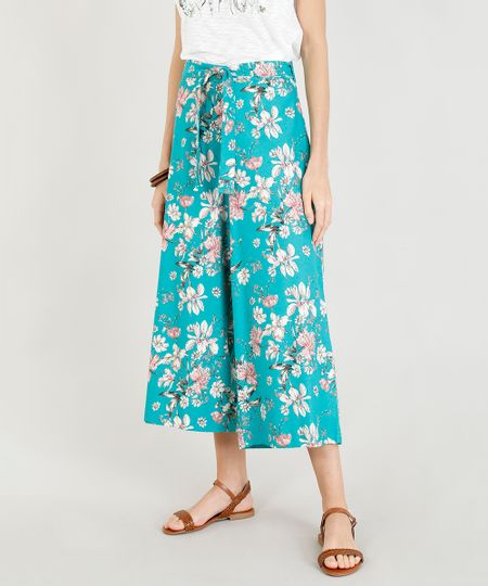 489efbba4 Menor preço em Calça Pantacourt Feminina Estampada Floral com Linho e Faixa  para Amarrar Verde