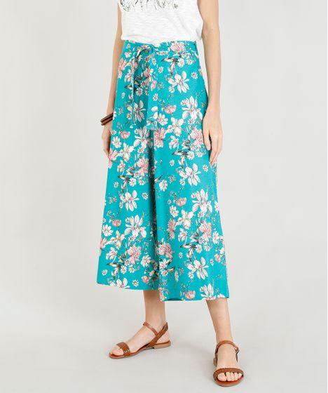 71aa8c550 Calça Feminina Pantacourt Estampada Floral com Linho e Faixa para ...