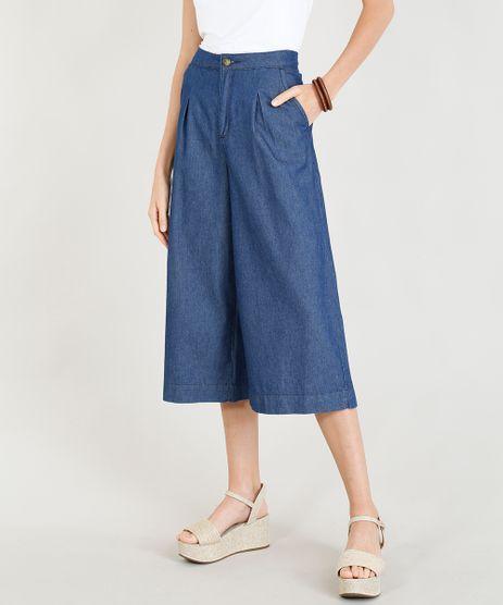 Calca-Jeans-Pantacourt-Feminina-Alfaiatada-com-Bolsos-Azul-Medio-9346405-Azul_Medio_1