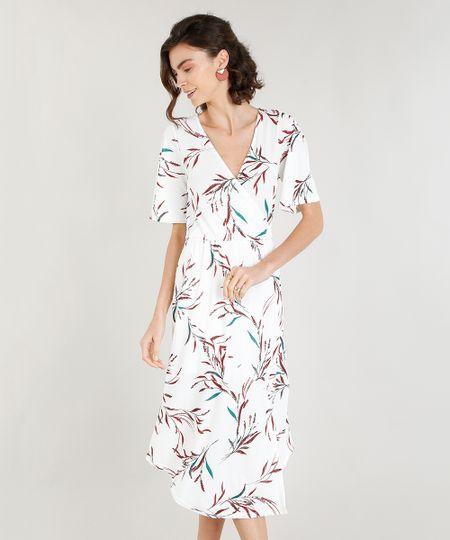 b0a203fe86 Vestido Midi Feminino com Fenda Estampado de Folhagem Off White