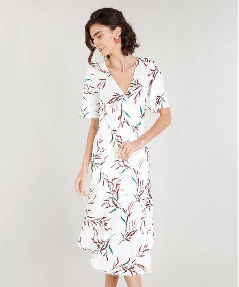 2a3d37a17 Vestido Feminino Midi com Fenda Estampado de Folhagem Off White - cea
