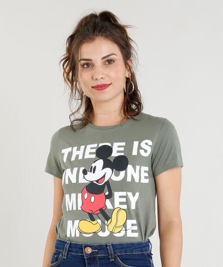 0a97f244e Blusa Feminina Mickey Manga Curta Decote Redondo Verde   Menor preço ...