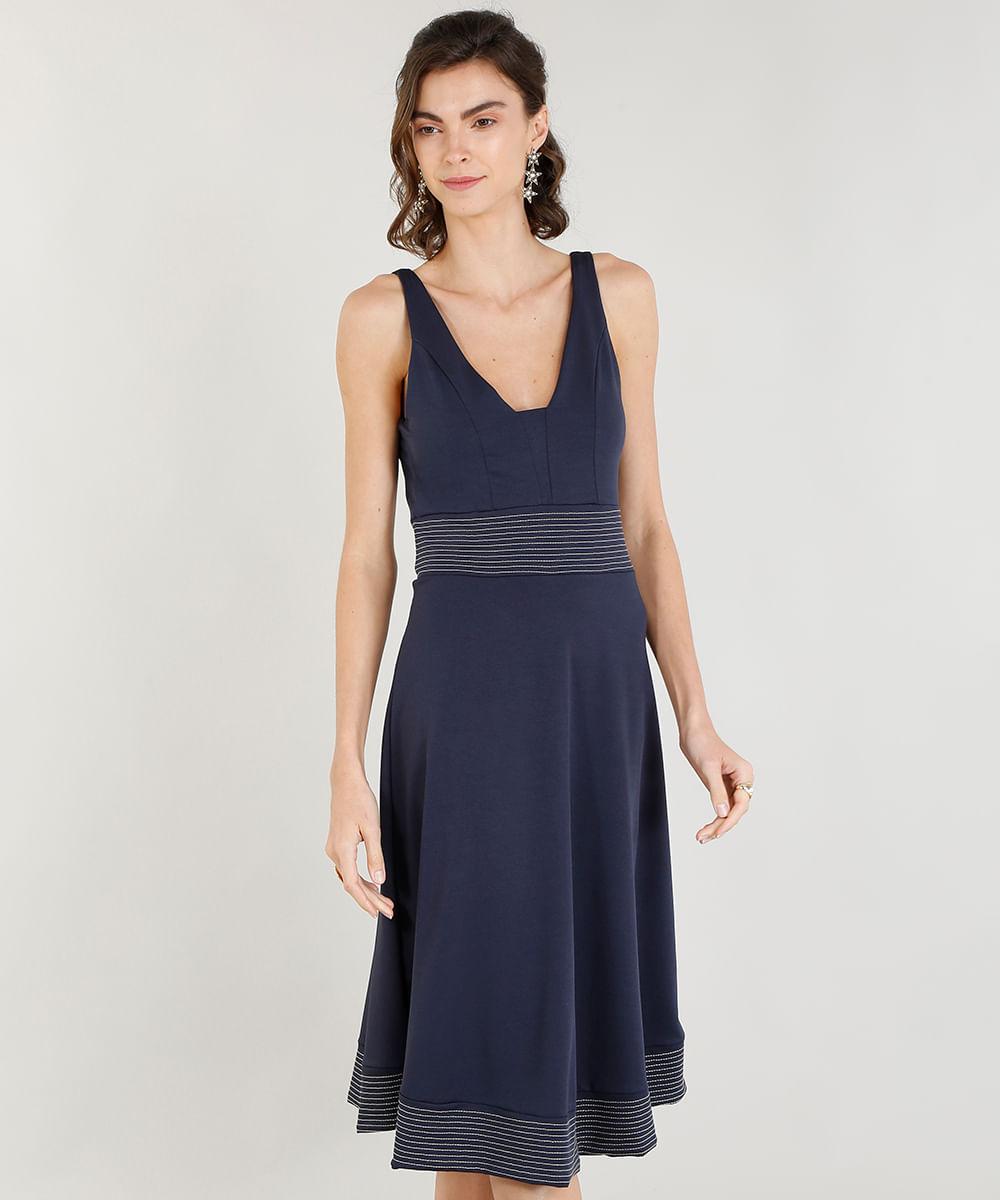 5932a0f83d Vestido Feminino Evasê com Pespontos Decote V Azul Marinho - cea