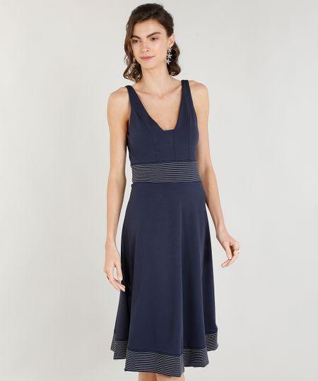 051c722ee Menor preço em Vestido Evasê Feminino com Pespontos Decote V Azul Marinho