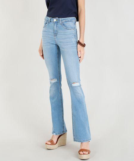 63ca1dbd7 Calça Jeans Feminina Flare com Rasgos Azul Claro | Menor preço com cupom