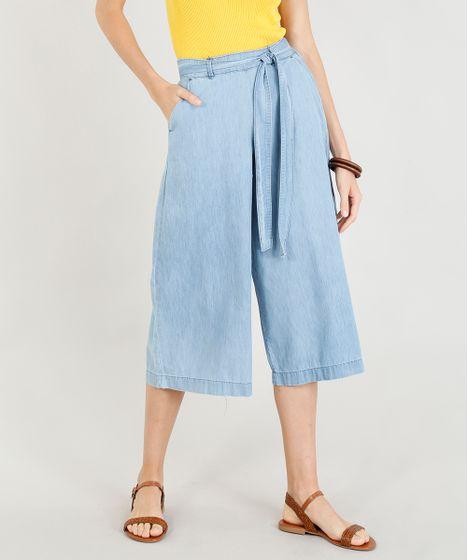 4b5312406 Calça Jeans Pantacourt Feminina com Faixa para Amarrar Azul Claro - cea