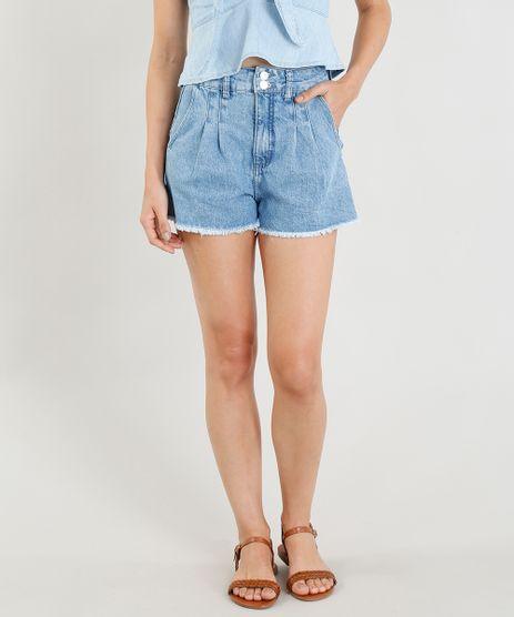 Short-Jeans-Mom-Feminino-Cintura-Alta-com-Pregas-Azul-Claro-9365666-Azul_Claro_1