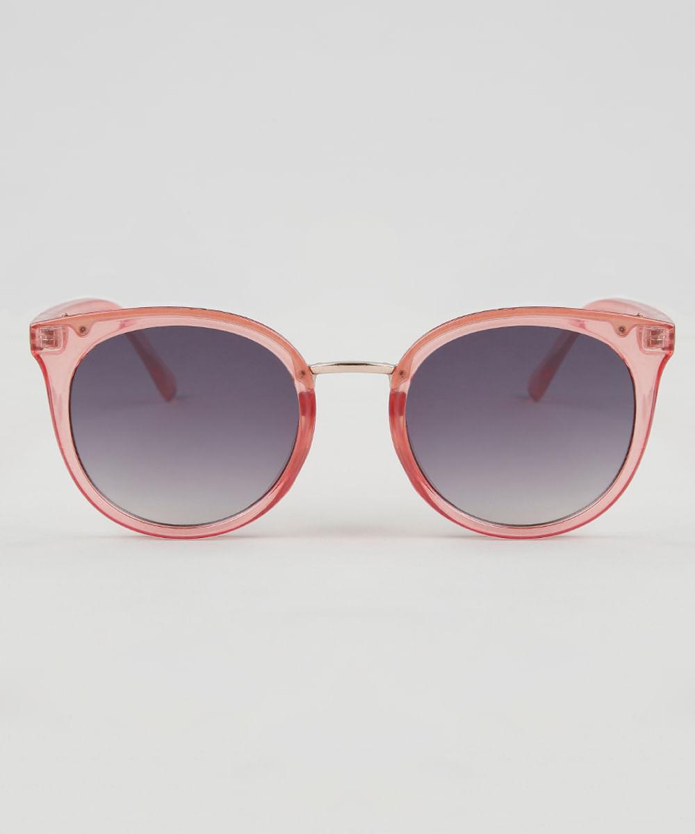 Óculos de Sol Redondo Feminino Oneself Rosa - ceacollections 8833a57d90