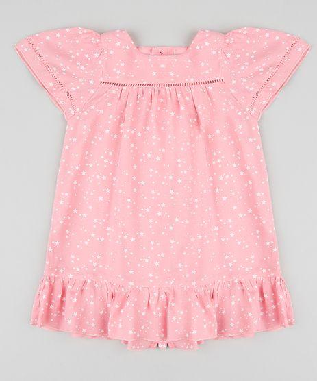 Vestido-Infantil-Estampado-de-Estrelas-Manga-Curta-Decote-Redondo-Rosa-9172626-Rosa_1