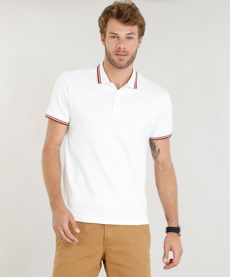 e3701930ef Polo-Masculina-com-Bordado-Manga-Curta-Off-White-