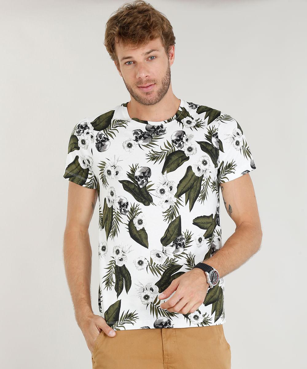 17214c5e42 Camiseta Masculina Slim Fit Estampada de Folhagem e Caveira Manga Curta Gola  Careca Branca