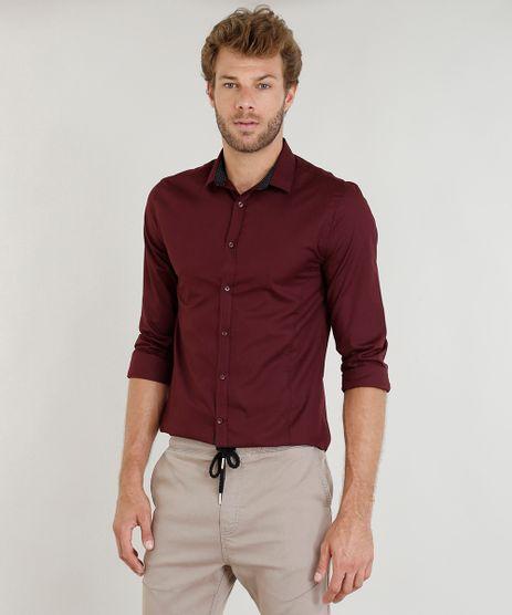 Camisa-Masculina-Slim-Manga-Longa-Vinho-9343393-Vinho_1
