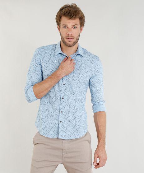 Camisa-Masculina-Slim-Estampada-Mini-Print-Floral-Manga-Longa-Azul-Claro-9253941-Azul_Claro_1