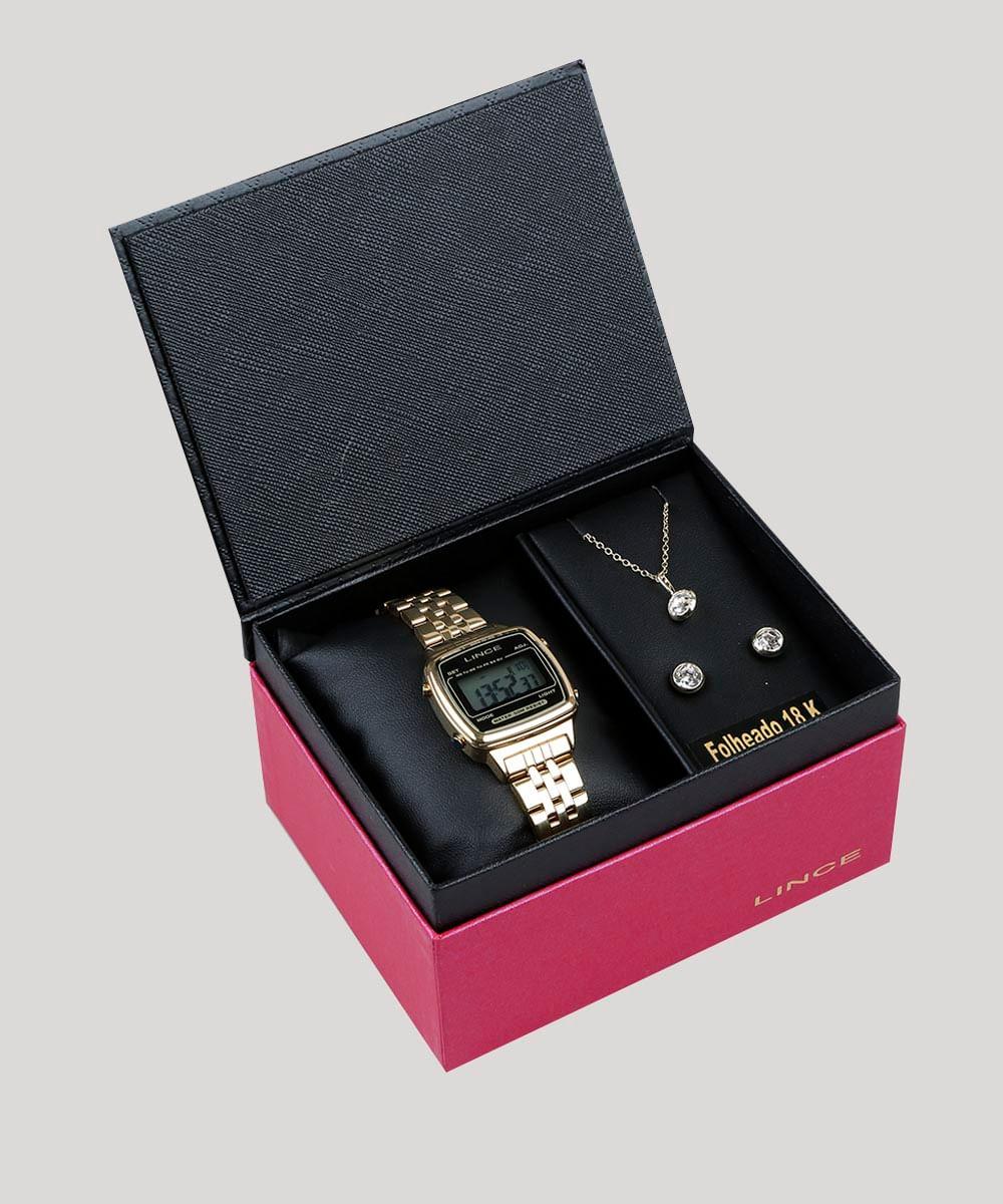 a190600d28 Kit de Relógio Digital Lince Feminino + Brinco + Colar - SDPH040L ...