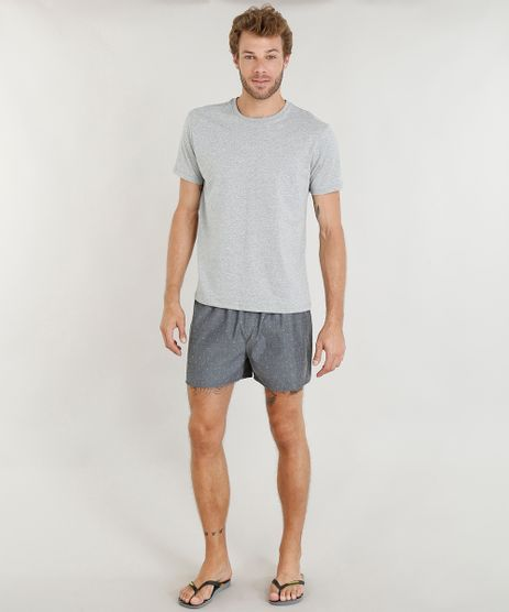 Pijama-Masculino-com-Camiseta-Manga-Curta---Samba-Cancao-Estampada-Cinza-Mescla-9395534-Cinza_Mescla_1