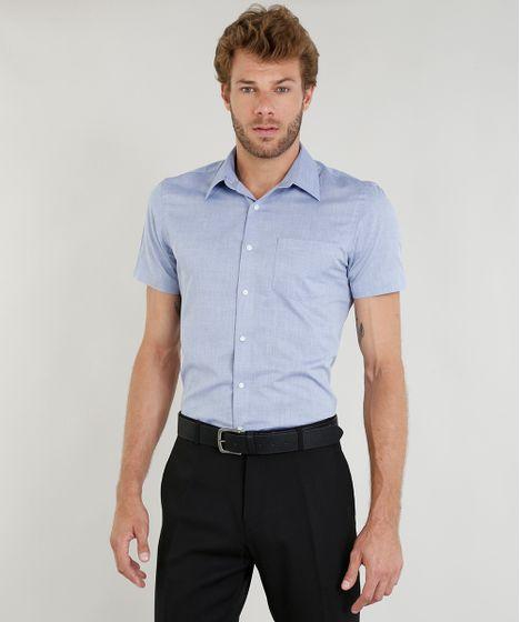 119f6ce2f Camisa Masculina Comfort com Bolso Manga Curta Azul Claro - cea