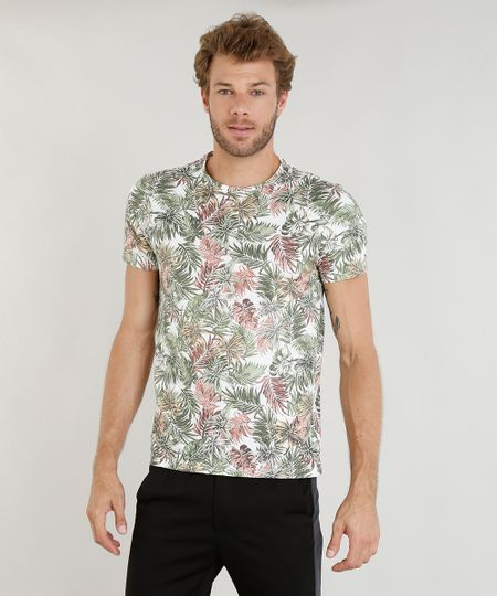 10c75a0866 Camiseta Masculina Slim Fit Estampada de Folhagem Manga Curta Gola Careca  Branca - ceacollections