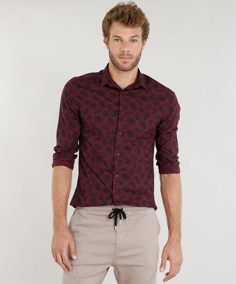 Camisa-Masculina-Slim-Estampada-de-Folhagem-Manga-Longa-Vinho-9253700-Vinho_1