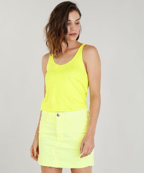 Regata-Feminina-Mindset-em-Trico-Decote-V-Amarelo-Neon-9357710-Amarelo_Neon_1