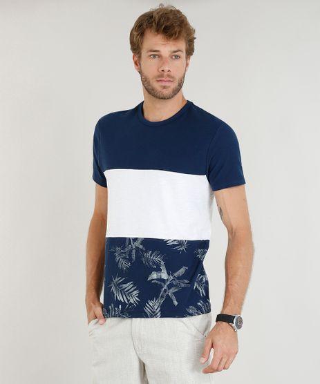 Camiseta-Masculina-com-Estampa-de-Folhagem-e-Recorte-Manga-Curta-Gola-Careca-Azul-Marinho-9410908-Azul_Marinho_1