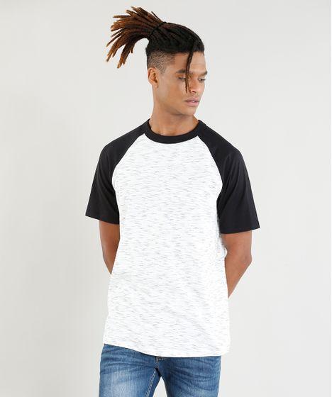 e23c650956947 Camiseta Raglan Masculina Manga Curta Gola Careca Off White - cea