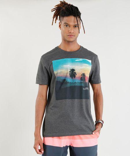 46501cc44 Menor preço em Camiseta Masculina Por do Sol Manga Curta Gola Careca Cinza  Mescla Escuro