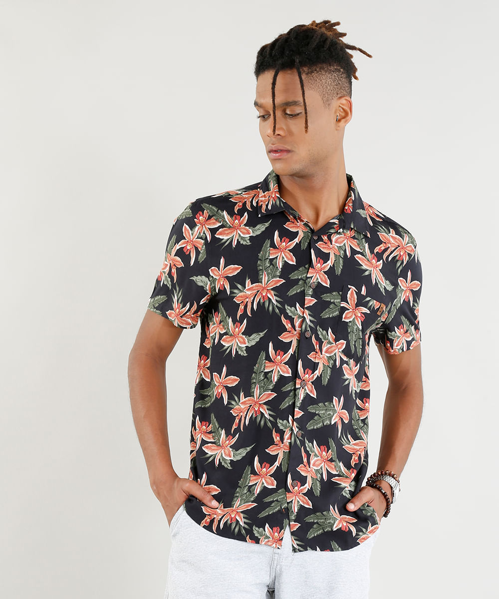 ... Camisa-Masculina-Estampada-Floral-Manga-Curta-Preta-9395736- 866cbc0a66