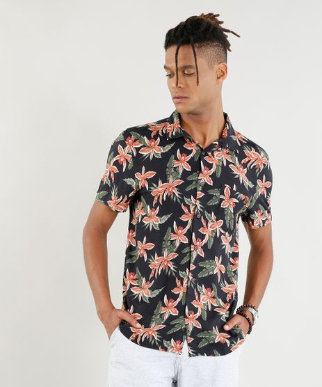 Camisa-Masculina-Estampada-Floral-Manga-Curta-Preta-9395736-Preto_1