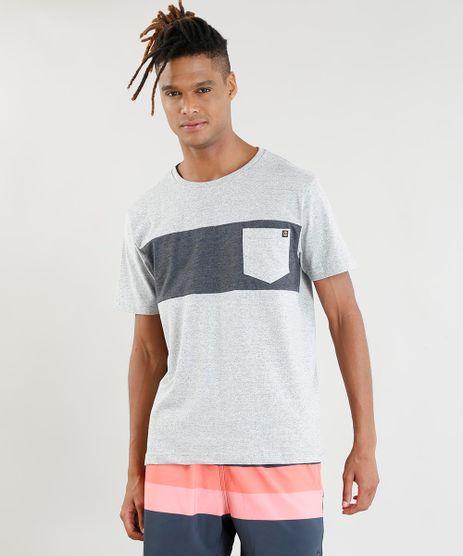 Camiseta-Masculina-com-Bolso-Manga-Curta-Gola-Careca-Cinza-Mescla-9402644-Cinza_Mescla_1