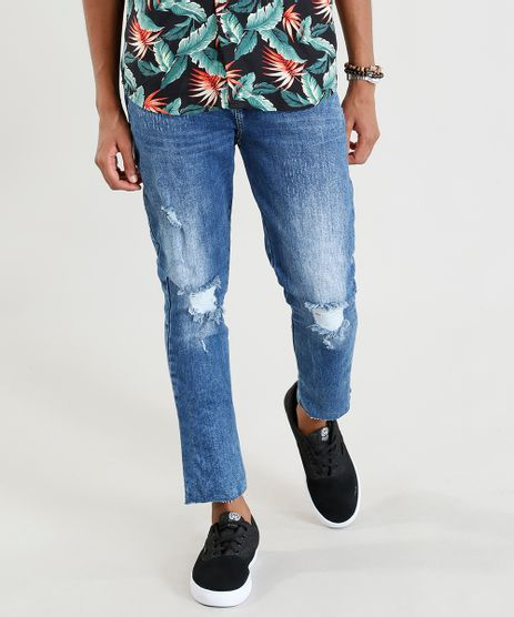 Calca-Jeans-Masculina-Carrot-com-Rasgos-Azul-Medio-9393697-Azul_Medio_1