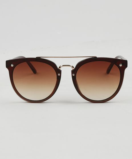 eb8fd0c68742c Oculos-de-Sol-Redondo-Feminino-Oneself-Marrom-9474084-