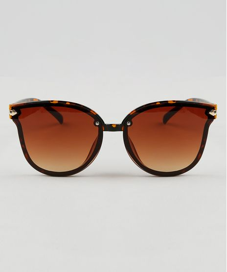 Oculos-de-Sol-Redondo-Feminino-Oneself-Marrom-9464683- 7016b74cb4
