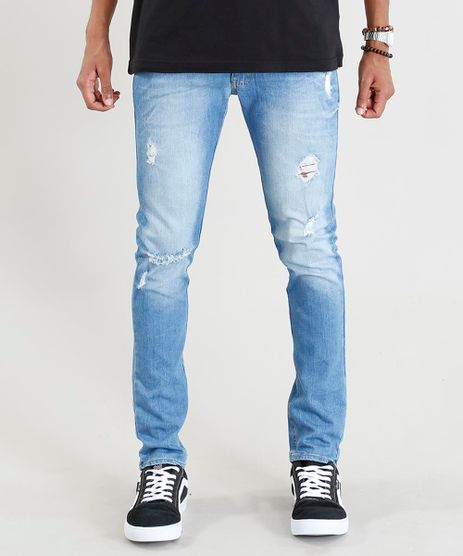 Calca-Jeans-Masculina-Skinny-com-Rasgos-Azul-Claro-9382197-Azul_Claro_1