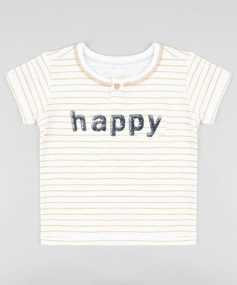 Camiseta-Infantil-Listrada--Happy--com-Botao-Manga-Curta-Gola-Careca-Off-White-9403144-Off_White_1