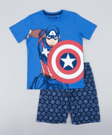 Pijama-Infantil-Capitao-America-Manga-Curta-Azul-9341831-Azul_1