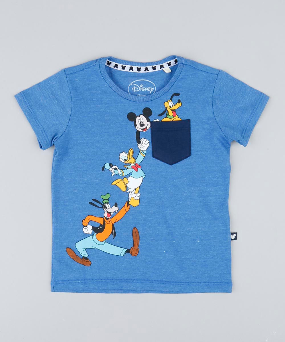 d022861988960 Camiseta Infantil Turma do Mickey com Bolso Manga Curta Gola Careca ...