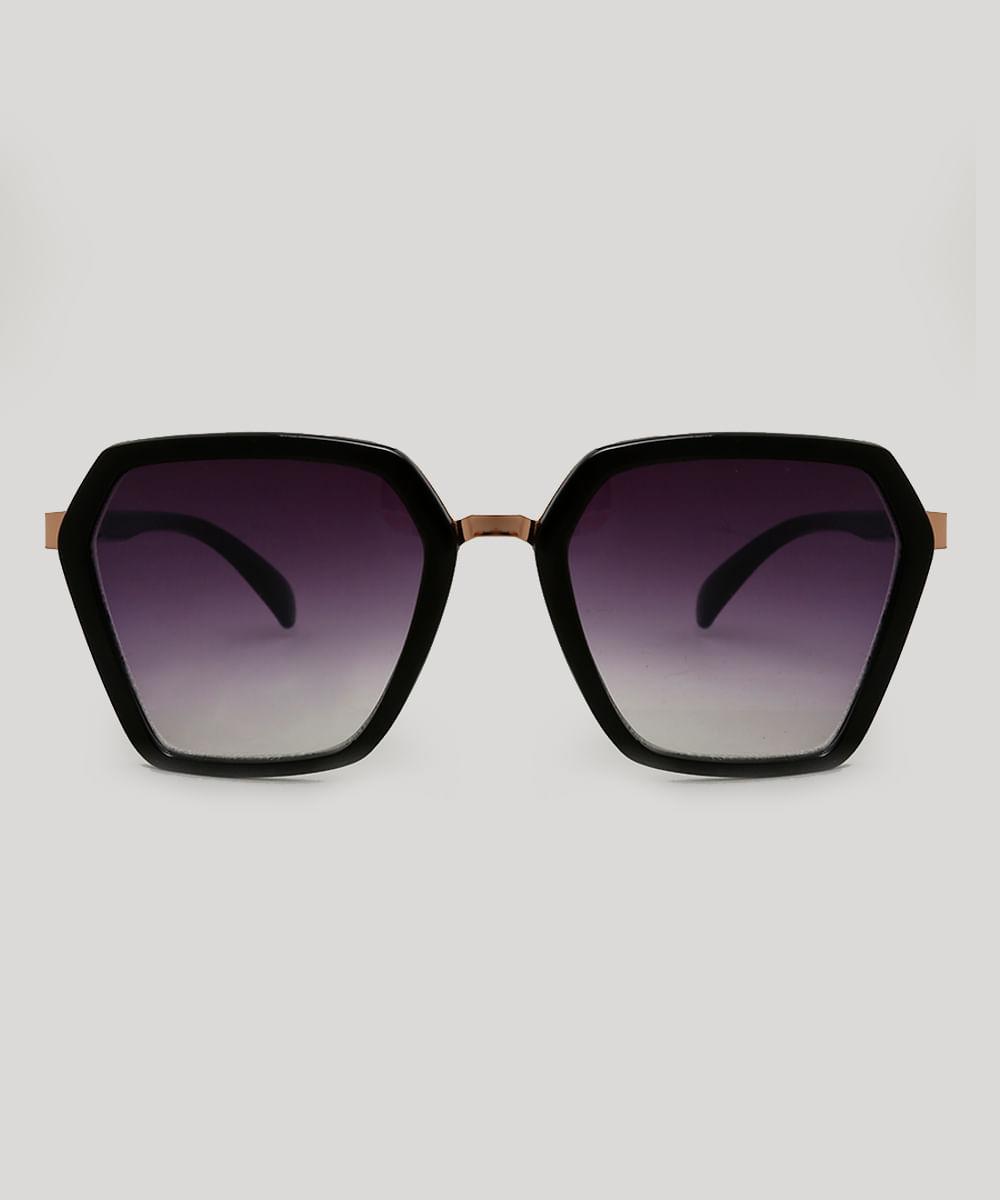 cc7857271 Óculos de Sol Geométrico Feminino Preto - ceacollections