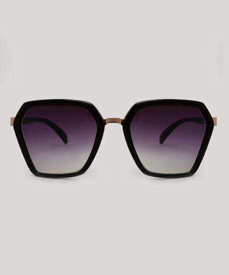 0a8693d70 Óculos de Sol Geométrico Feminino Preto - cea