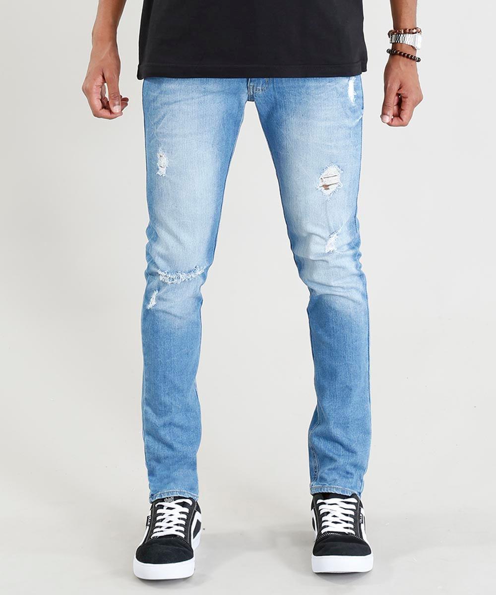 bca79a4e7 Calça Jeans Masculina Skinny com Rasgos Azul Claro - cea